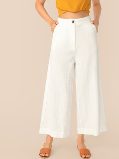 Button Front Wide Leg Crinkle Pants