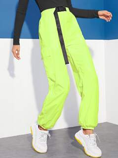 Neon Lime Push Buckle Waist Flap Pocket Pants