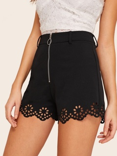 O-ring Zip Front Laser Cut Shorts