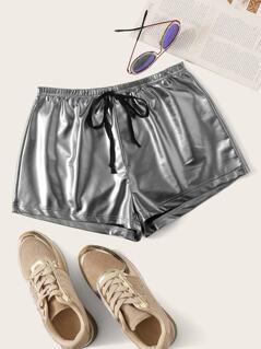 Drawstring Waist PU Shorts