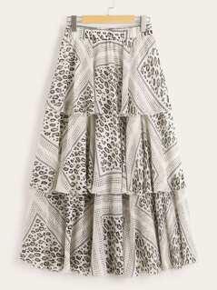 Leopard Scarf Print Layered Ruffle Skirt