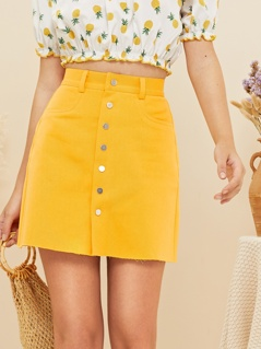 Button Up Raw Hem Skirt