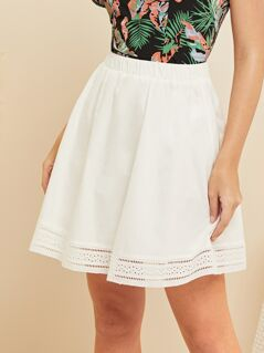 Elastic Waist Embroidered Eyelet Skirt