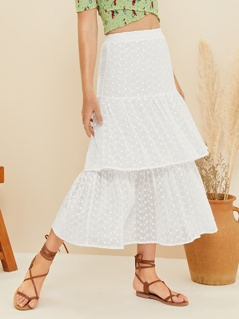 Layered Ruffle Hem Polka Dot Schiffy Skirt