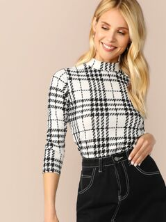 Mock Neck Plaid Top