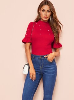 Pearls Beaded Mock-neck Ruffle Sleeve Tee