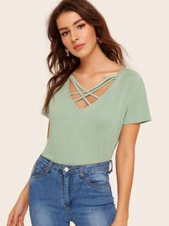Criss Cross Neck Tee