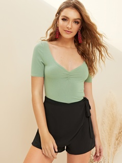 Ruched Front Rib-knit Top