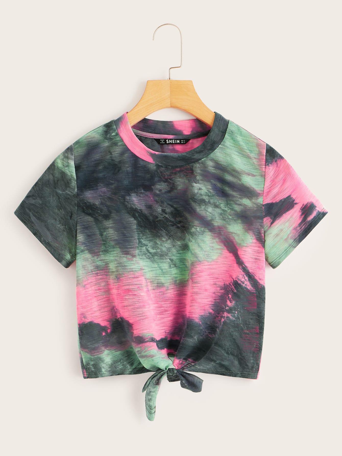 Фото - Разноцветная футболка с узелом от SheIn цвет многихцветный