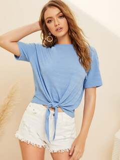 Knot Front Textured Tee