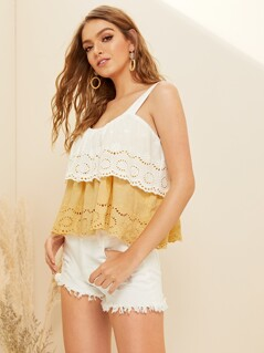Two Tone Laser Cut Ruffle Hem Cami Top