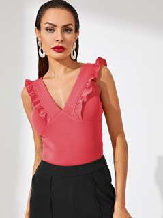 V-neck Ruffle Trim Solid Top