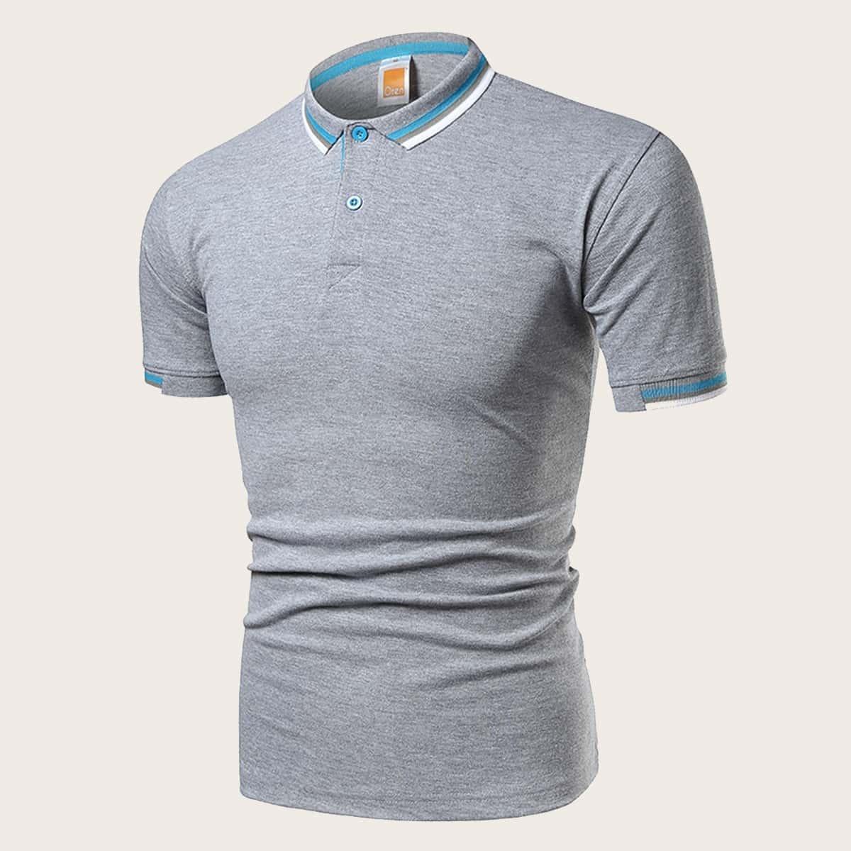 Grijs Casual Poloshirts voor heren Knoop