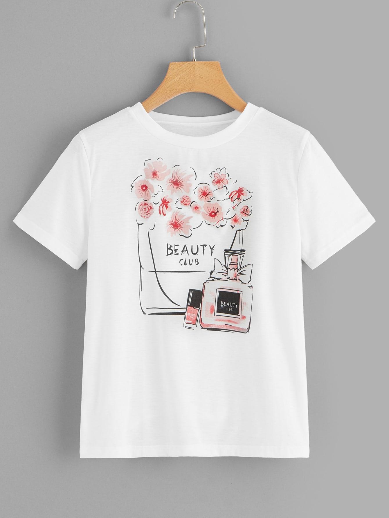 Размера плюс цветочная футболка с текстовым принтом SheIn