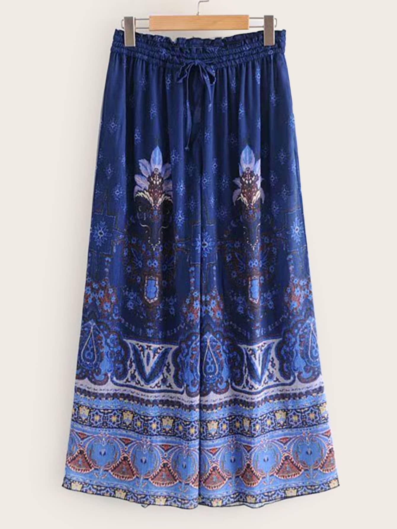 Широкие брюки с племенным принтом SheIn