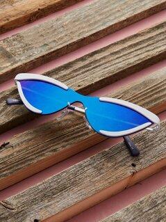Metal Rim Reflective Edgy Cat Eye Sunglasses