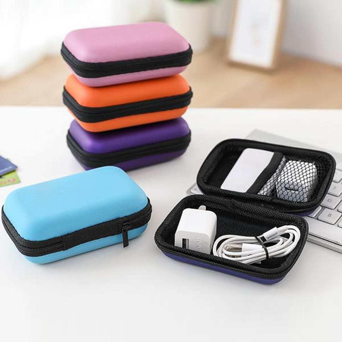 Willekeurige kleuren oortelefoon opbergtas 1pc