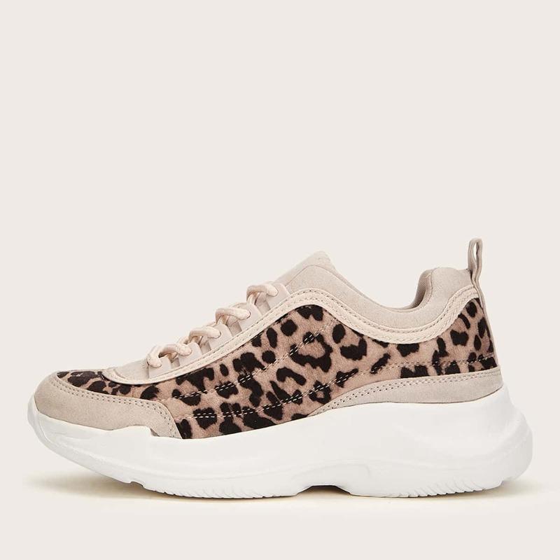 Leopard Lace-up Sneakers, Multicolor