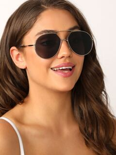 Large Metal Frame Aviator Sunglasses