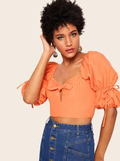 Knot Detail Shirred Crop Top