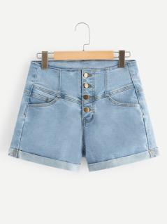 Rolled Up Hem Buttoned Fly Denim Shorts