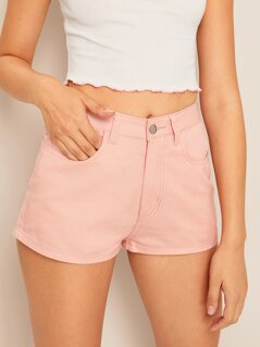 Pocket Patched Solid Denim Shorts