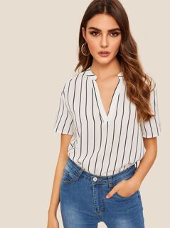 V-Neck Dip Hem Striped Top