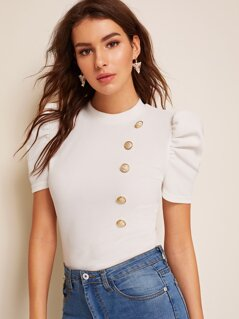 Mock-neck Puff Sleeve Button Front Top
