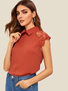 Keyhole Back Lace Insert Collar Top