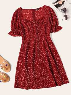 Zip Back Heart Print Puff Sleeve Dress
