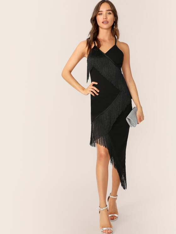 c18ff1bf8df0 Crisscross Back Fringe Detail Wrap Slip Dress | MakeMeChic.COM