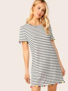 Pompom Detail Striped T-Shirt Dress