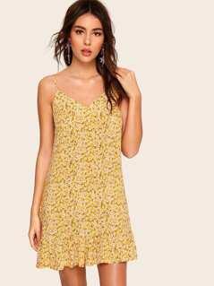 Ditsy Floral Print Ruffle Hem Cami Dress