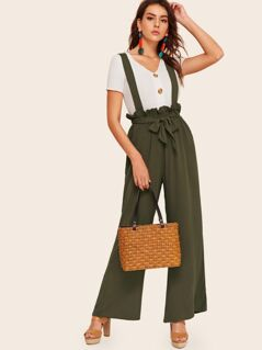 Paperbag Waist Wide Leg Pants With Strap