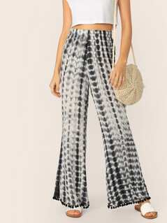 Pom Pom Trim Tie Dye Wide Leg Pants