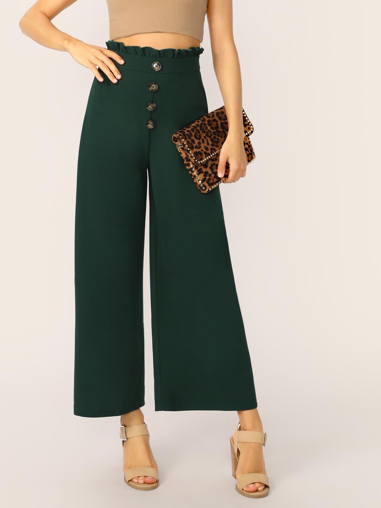Фото - Широкие брюки с присборенной талией от SheIn зеленого цвета