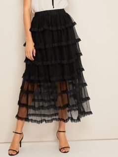 Lace Trim Layered Mesh Overlay Skirt