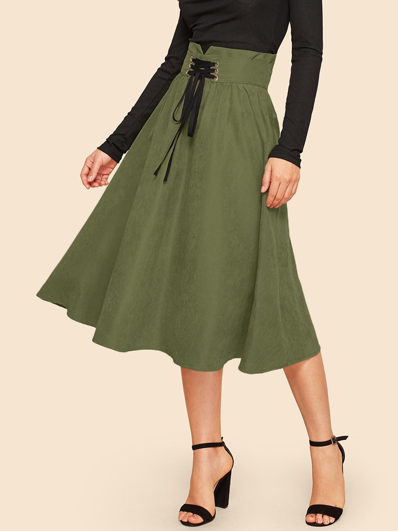 Расклешенная юбка на шнуровке с высокой талией SheIn
