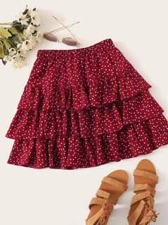 Heart Print Layered Ruffle Skirt