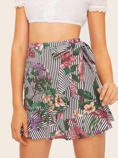 Botanical & Stripe Print Ruffle Trim Wrap Skirt