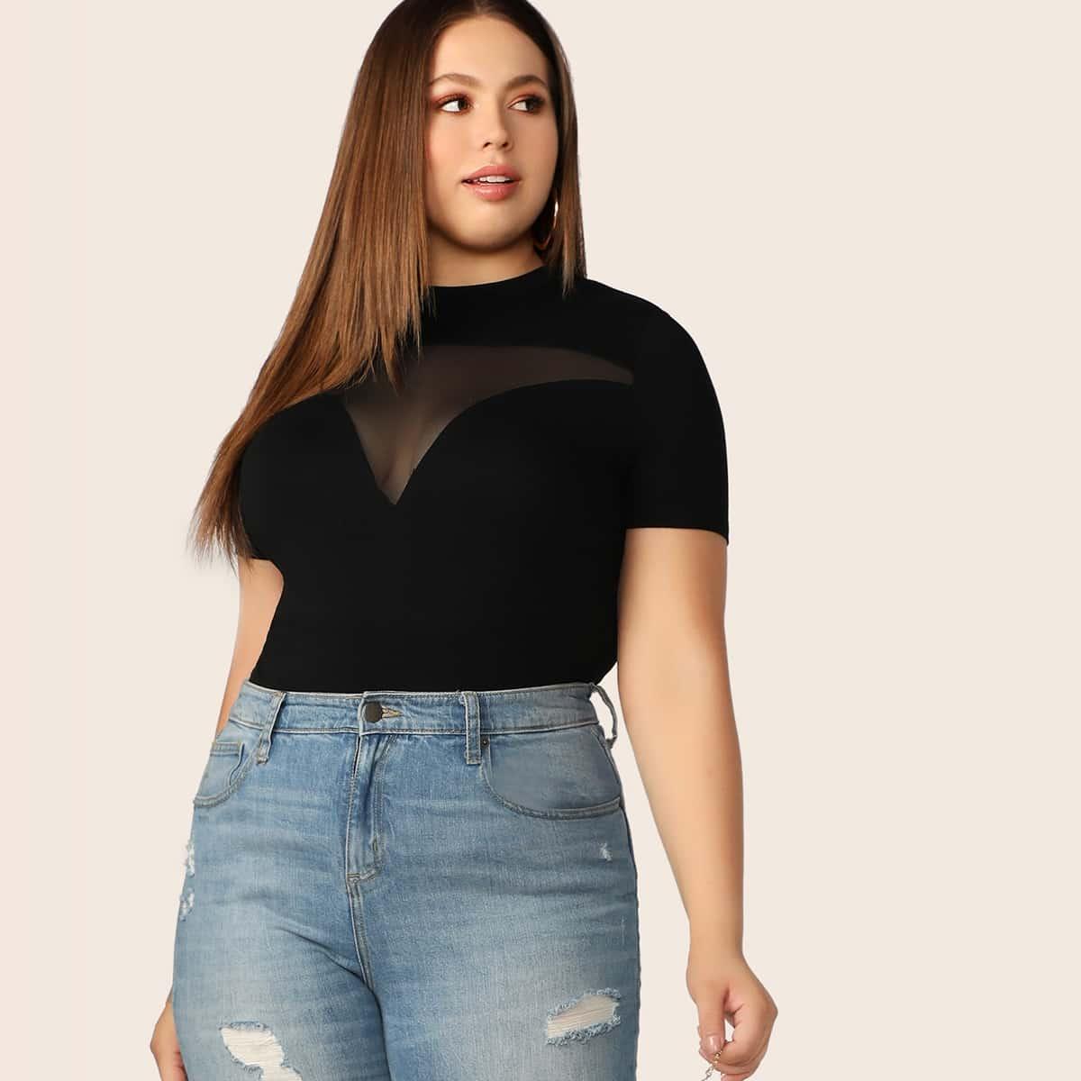 Zwart Sexy Vlak Grote maten T-shirts Zeeg