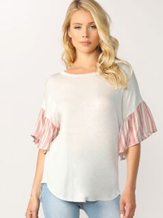 Striped Ruffle Sleeve Jersey Knit Round Neck Top
