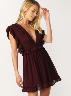 Ruffle Trim V-Neck Chiffon Mini Dress