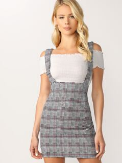 Houndstooth Plaid Suspender Mini Skirt