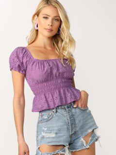 Square Neck Smocked Waist Puff Sleeve Eyelet Top
