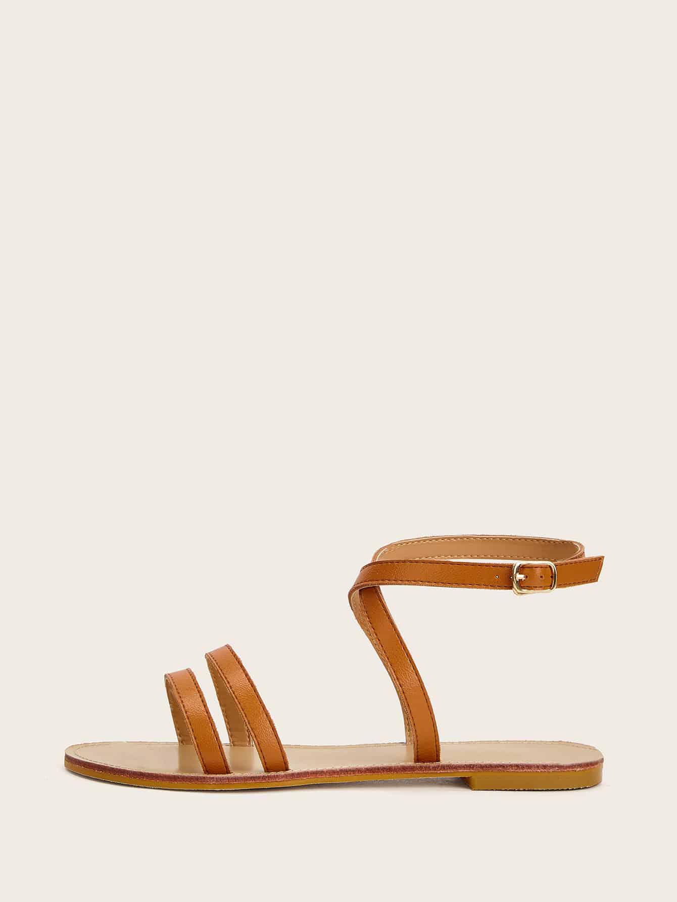 Купить Плоские сандалии с крестообразной ремень, null, SheIn