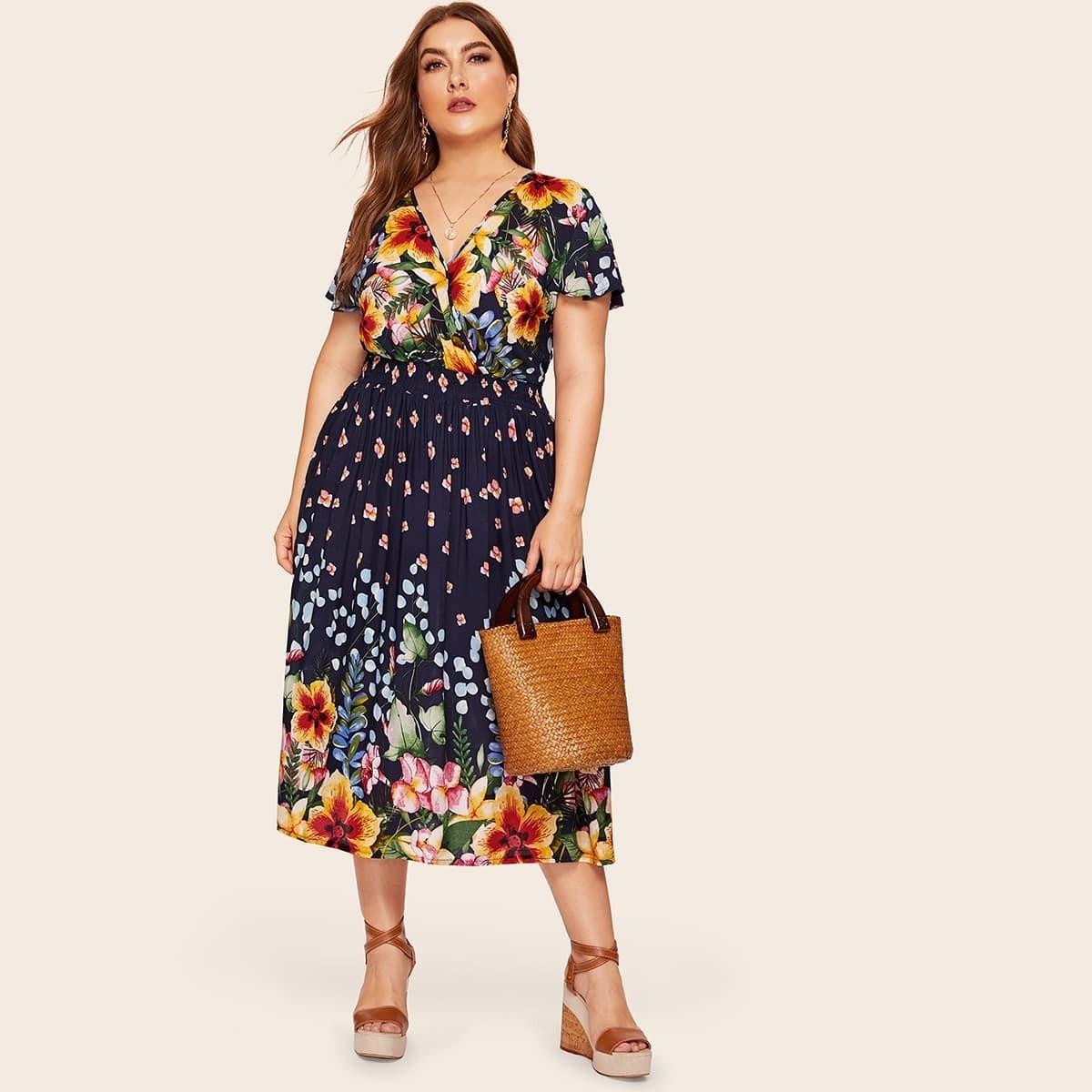 Veel kleurig Boho Bloemen Grote maten jurken