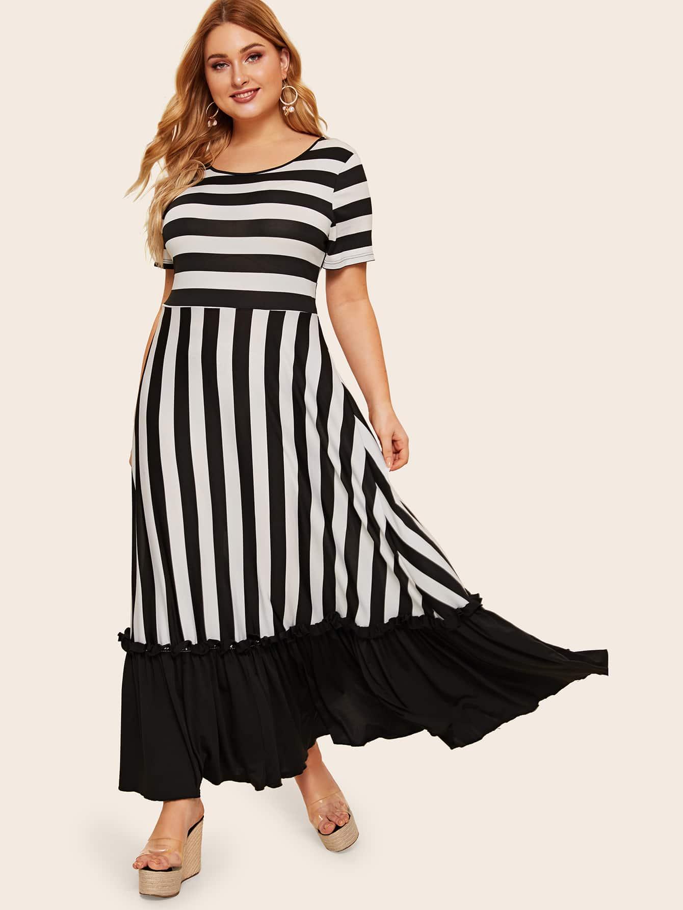 Размер плюс полосатое платье с оборками