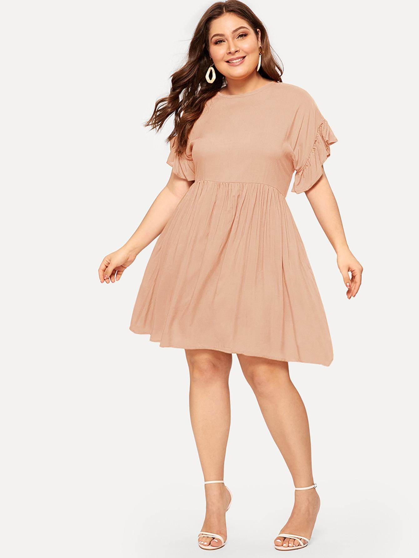 Размер плюс платье с оборками на манжетах