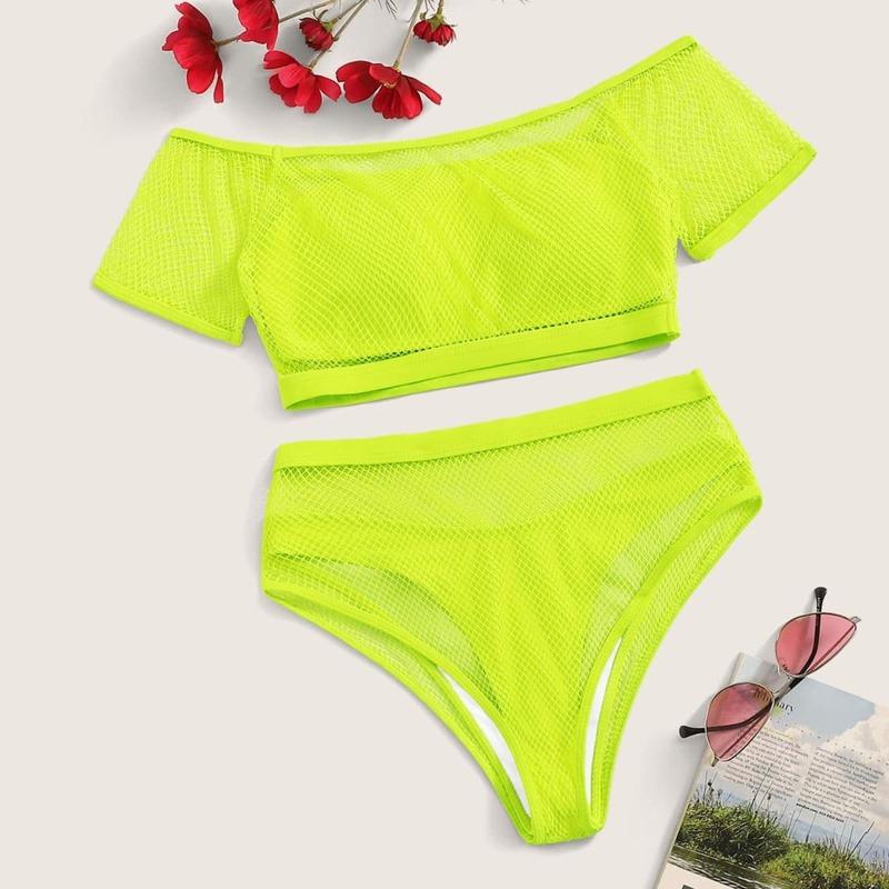 Neon Green Bardot Fishnet Short Sleeve Bikini 4pack, Green bright
